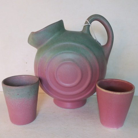 MUNCIE POTTERY Pitcher and Two Cups: