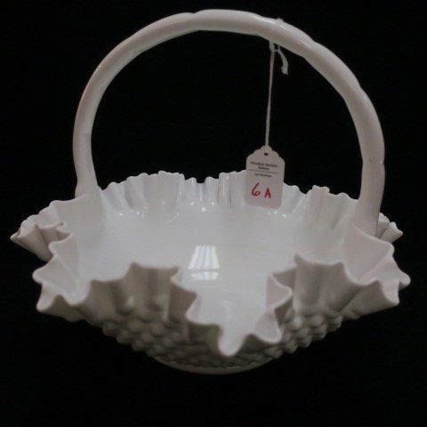 Fenton Milk Glass Hobnail Ruffled Basket