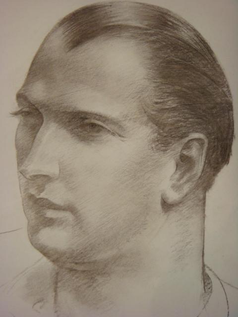 LEON KROLL Portrait Charcoal on Paper: