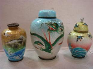 Small Foil Cloisonné Vase and Jars: