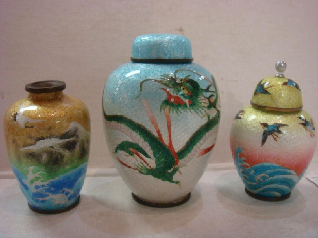 Small Foil Cloisonné Vase and Jars: