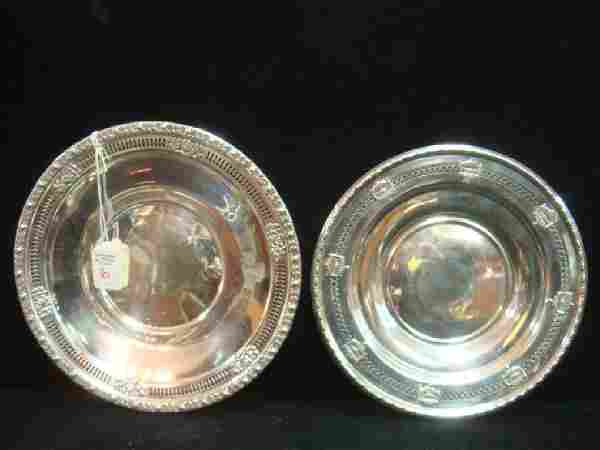Two Sterling Silver Trays with Pierced Rims: