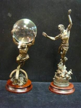 Two Bronze Statues of Zeus and Atlas: