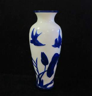 Cobalt Over White Peking Glass Vase: