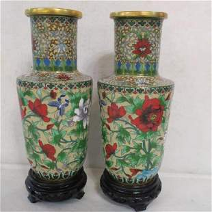 Pair of Chinese Cloisonné Vases on Stands: