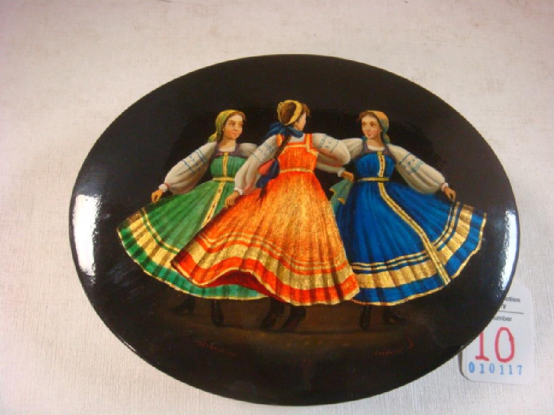"RUSSIAN LACQUER BOX, ""Three Maidens"", 1970, Oval:"