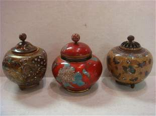 Three Vintage Cloisonné Lidded Jars: