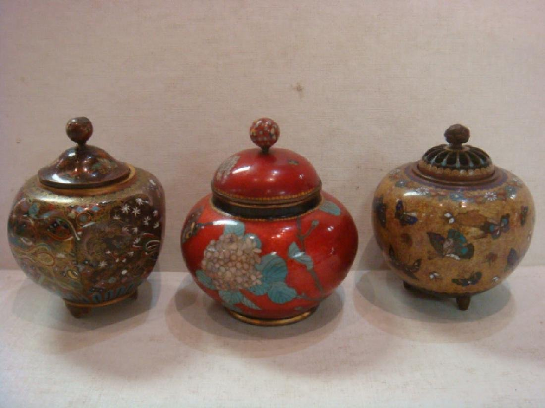 Three Vintage Cloisonné Lidded Jars: