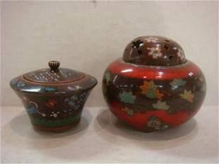 Two Japanese Cloisonné Lidded Jars: