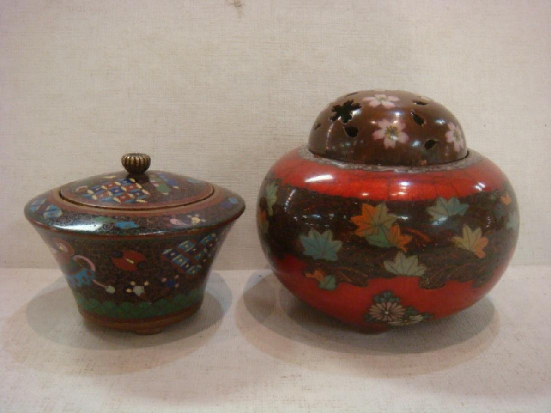 Two Japanese Cloisonné Lidded Jars: