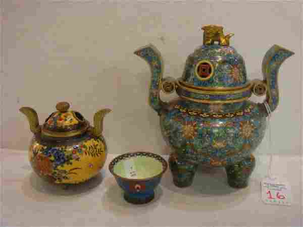 Two Cloisonné Censers and Cup: