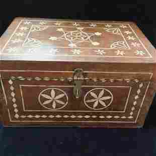 Fine Wooden Box with Fitted Interior and Bone Inlay: