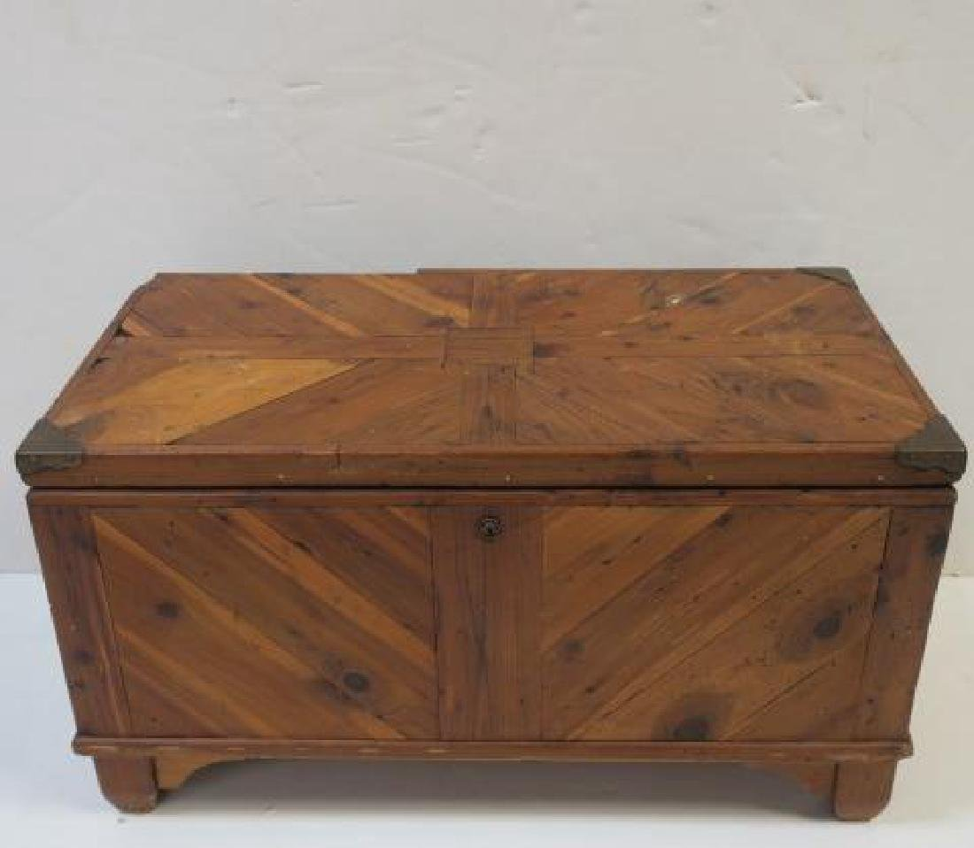 Small Antique Figured Pine Trunk: