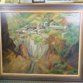 PETER HURD Chester County Rock Quarry, Oil on Canvas: