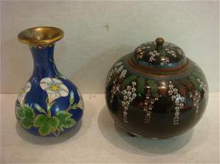 Japanese Cloisonné Jar and Chinese Vase: