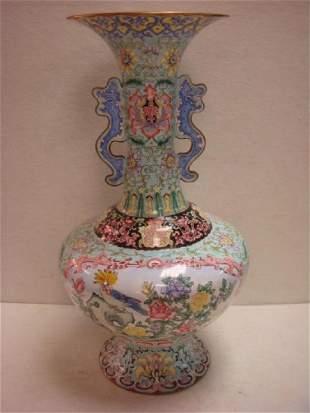 Tall Enameled Famille Rose Handled Vase:
