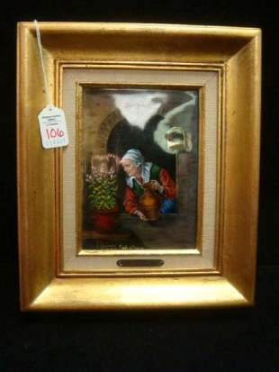 "RENE RESTOUEIX LIMOGES Enamel Painting in 3""Frame:"