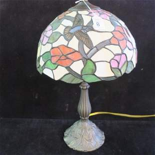 Dome Shaped Leaded Stained Glass Lamp: