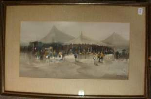 FREDERICK LEACH Circus Tent Framed Watercolor: