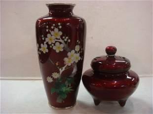 Japanese Red Foil Cloisonné Vase & Lidded Jar.