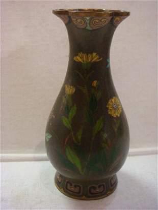 Bottle Form Chinese Cloisonné Vase: