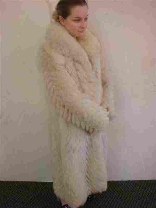 Thick and Plush Platinum White Full Length Fox Coat:
