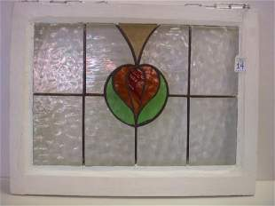 Stained Glass Panel in Painted Wood Frame: