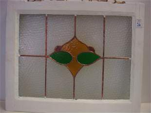 Framed Leaded Stained Glass Window Panel: