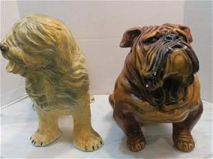 Chalk ware Seated Bull Dog and Standing Sheepdog: