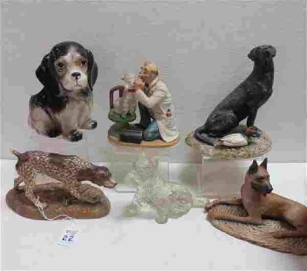 Six Ceramic and Glass Dog Figurines:
