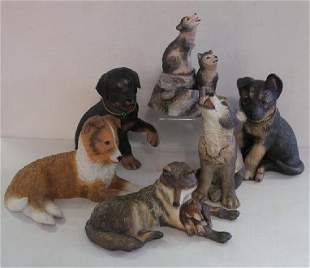Six LENOX Puppies and Wolves Ceramic Groups: