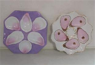 Two Unmarked Porcelain Oyster Plates: