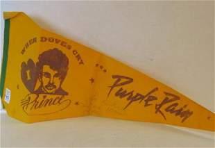 PRINCE Autographed PURPLE RAIN Concert Pennant: