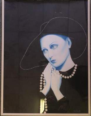 """DON FORTUNATO """"Woman in Pearls"""" Acrylic Painting."""