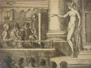 Strip Tease in New Jersey Etching by REGINALD MARSH: