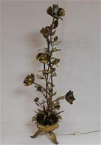 5 Stem Gilt Metal Floral Floor Lamp: