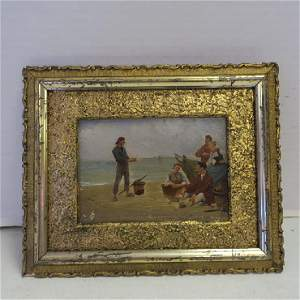 """Petite Oil on Board, """"The Clam Diggers:"""""""