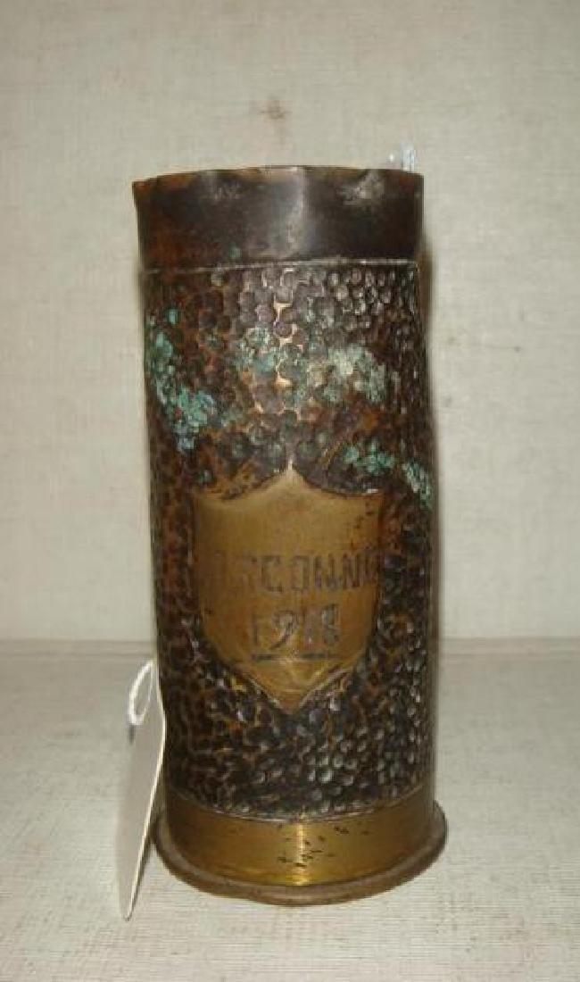 "TRENCH ART 37mm Cartridge Case Chased ""ARGONNE 1918"":"