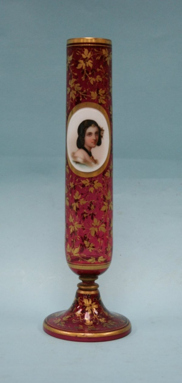 11: An antique Bohemian ruby overlay glass vase. The co