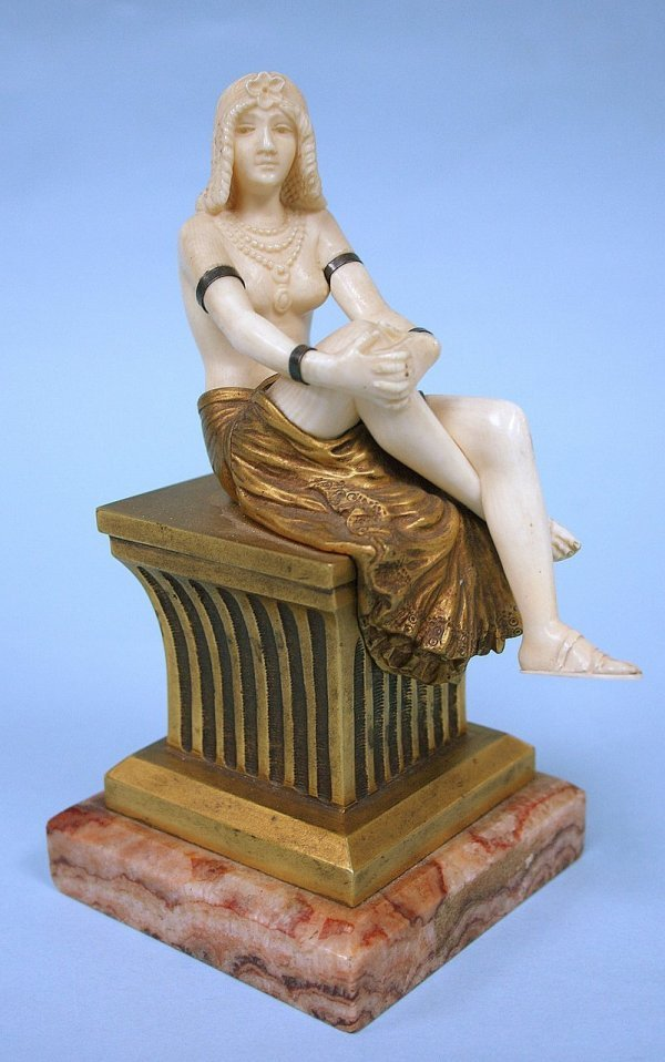 84: Th. SOMME - A rare period cast bronze and ivory fig