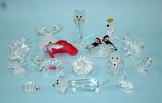2: SWAROVSKI - A lot of 15 miniature crystal figures of