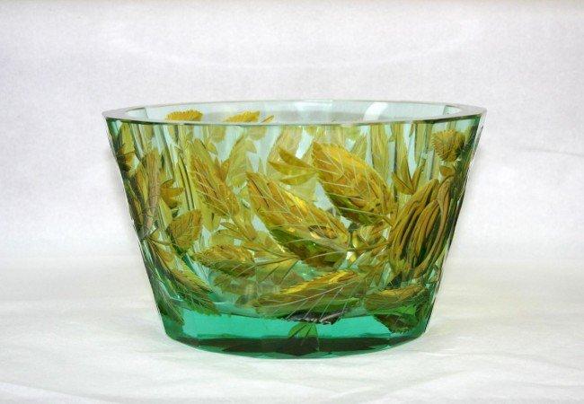4: ART DECO - MOSER - A cut glass fruit bowl. The facet