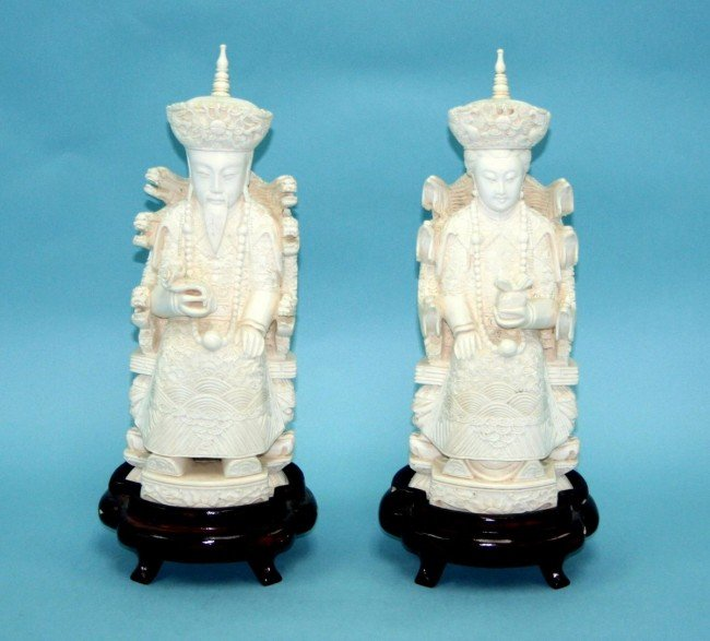 46: A pair of finely carved Chinese ivory figures of an