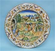 160: A handpainted Italian Majolica wall plate. Center