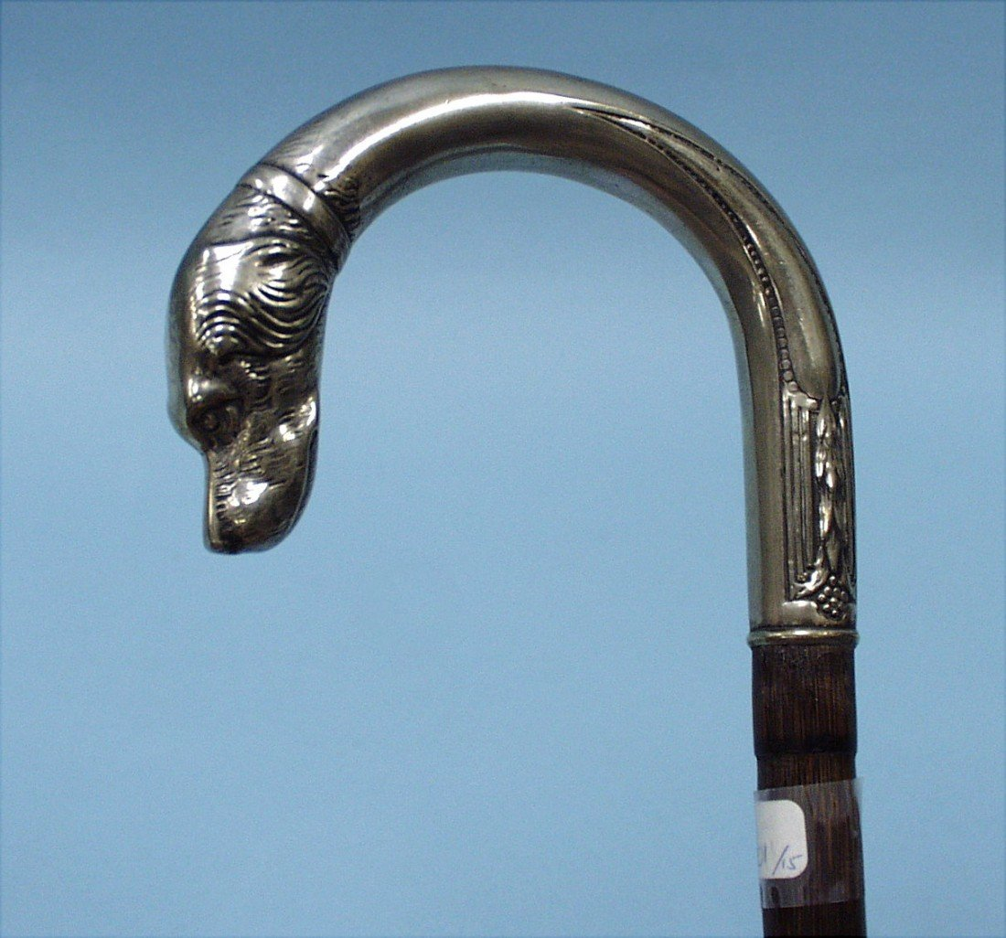 1: An antique silver  mounted bamboo walking cane.  Han