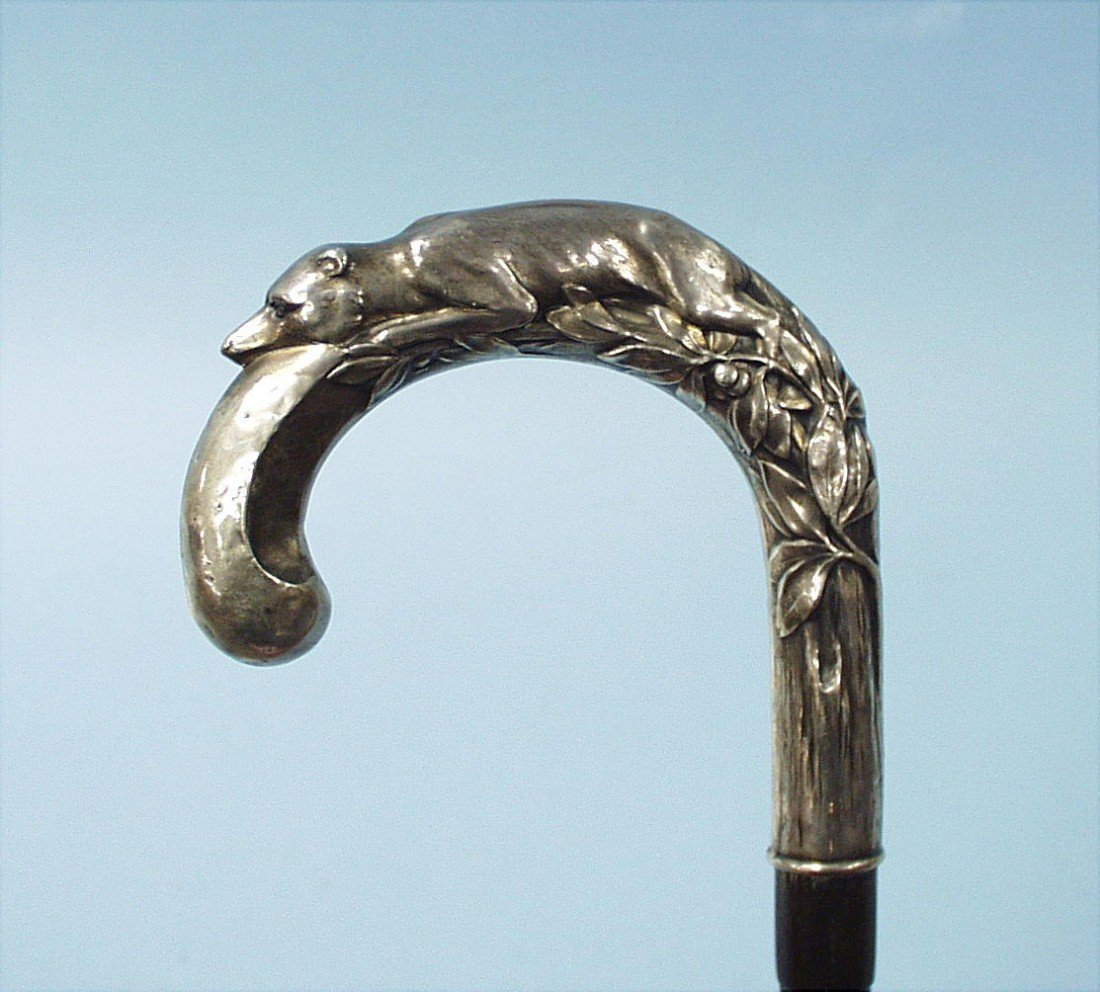4: ART NOUVEAU - A bamboo walking stick mounted with a