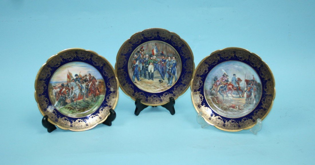 10: LIMOGES, FRANCE - A set of three handpainted porcel