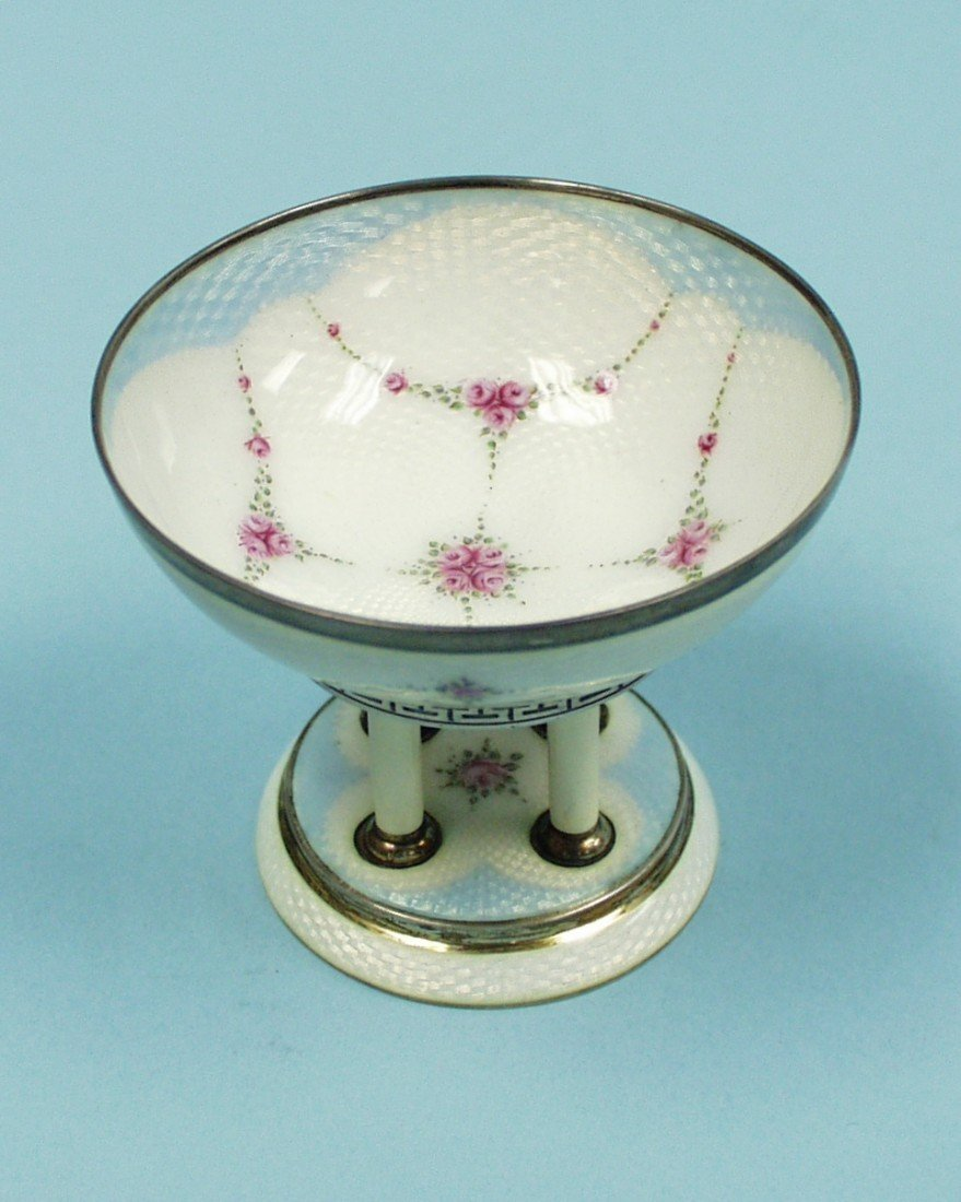 11: A miniature enamel decorated sterling silver footed