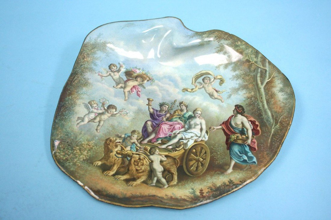 21: An antique Viennese enamel tray. Handpainted and en
