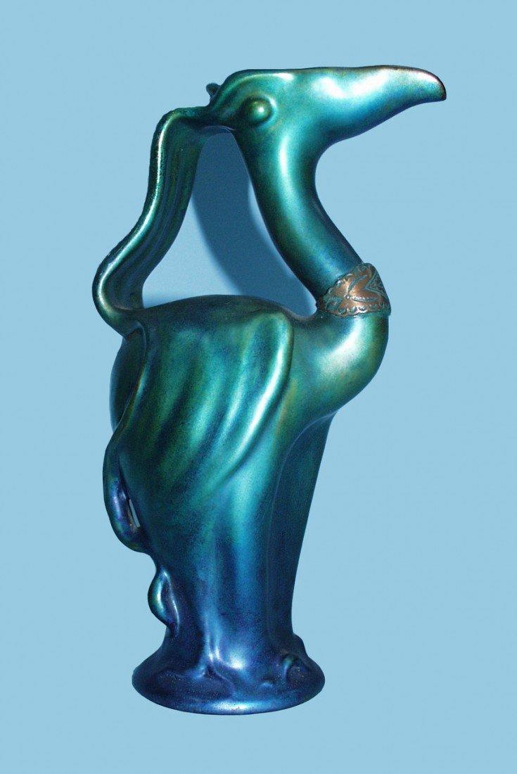 174: ZSOLNAY, PECS. An iridescent glazed faience jug in